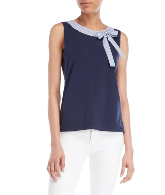 Stripe Bow Neck Sleeveless Top