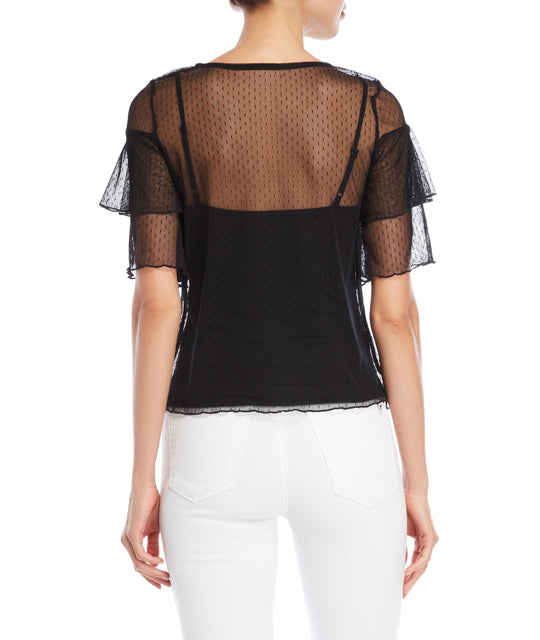 Swiss Dot Mesh Ruffle Top