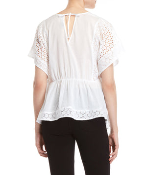 White Eyelet Surplice Top
