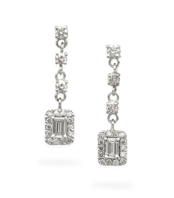Sparkle Rectangle Crystal Silver Earrings
