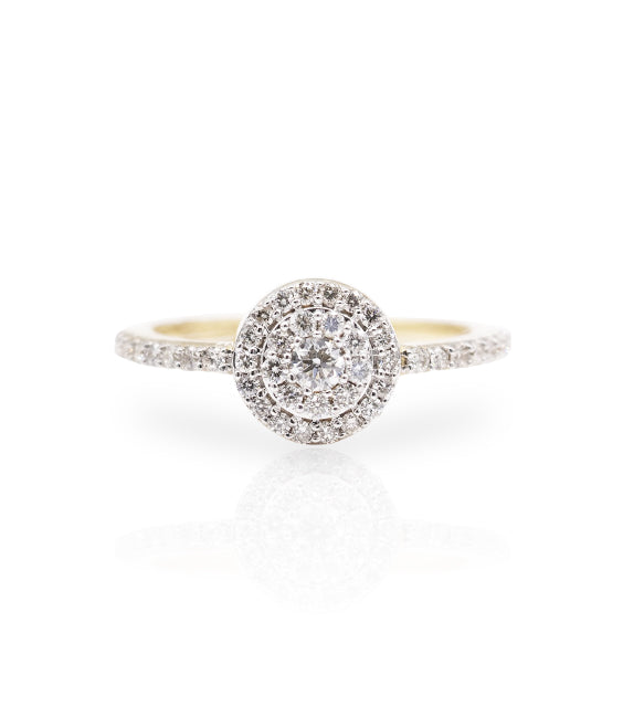 Diamond 10K Gold Cluster Halo Ring
