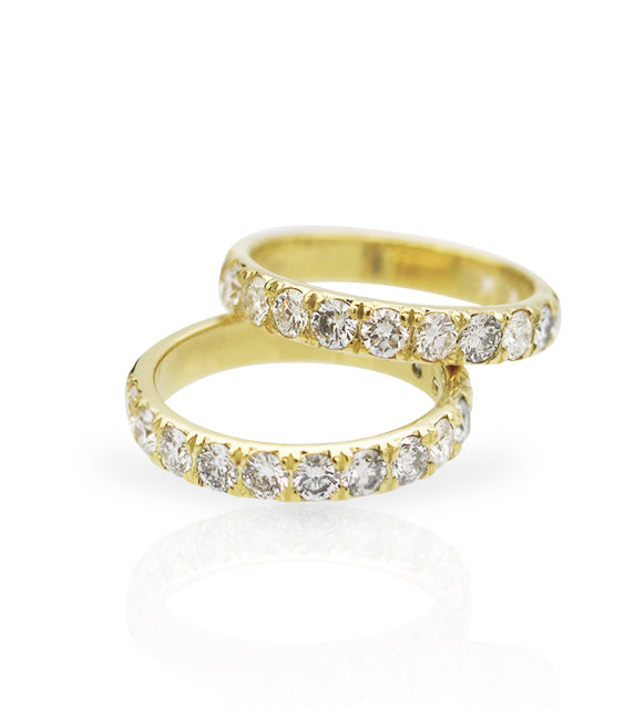 10K Gold Wedding Band - Pave Diamond