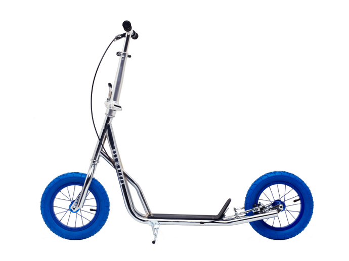 Chrome Kimura Kick Bike with 12inch Blue wheels - side