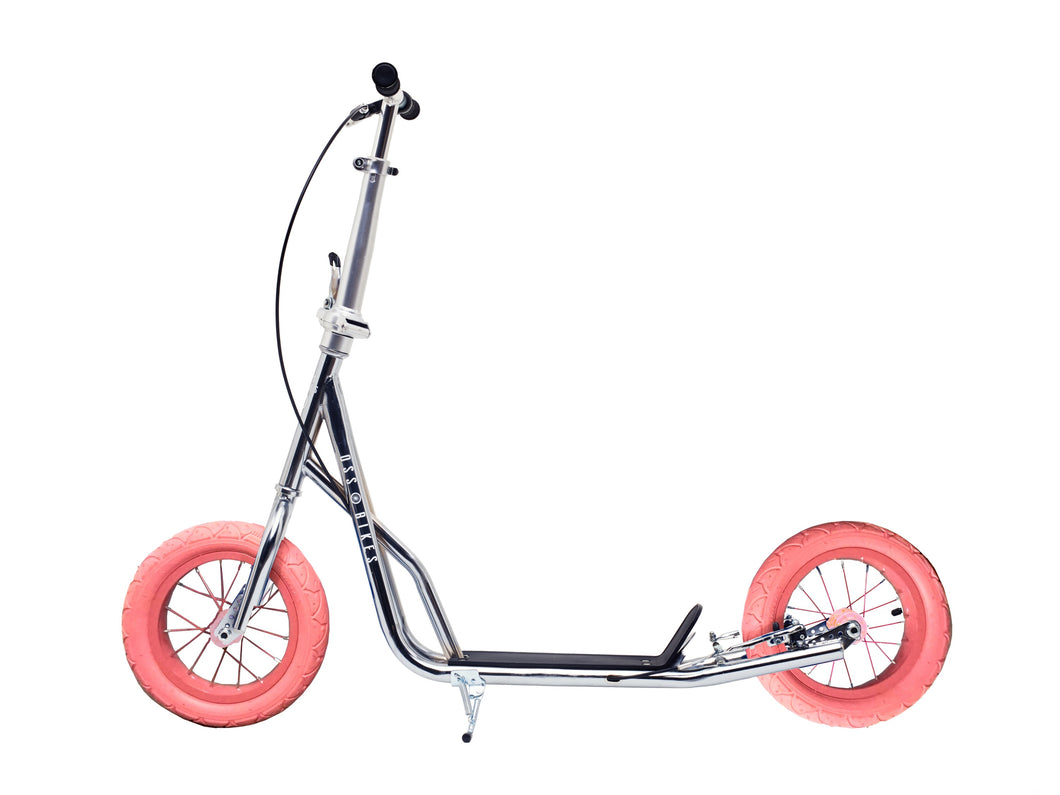 Kimura Chrome & Pink - Chrome Scooter With 12 Inch Pink Wheels