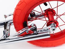 Chrome Kimura Kick Bike with 12inch Red wheels - detail
