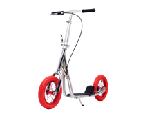 Chrome Kimura Kick Bike with 12inch Red wheels - front