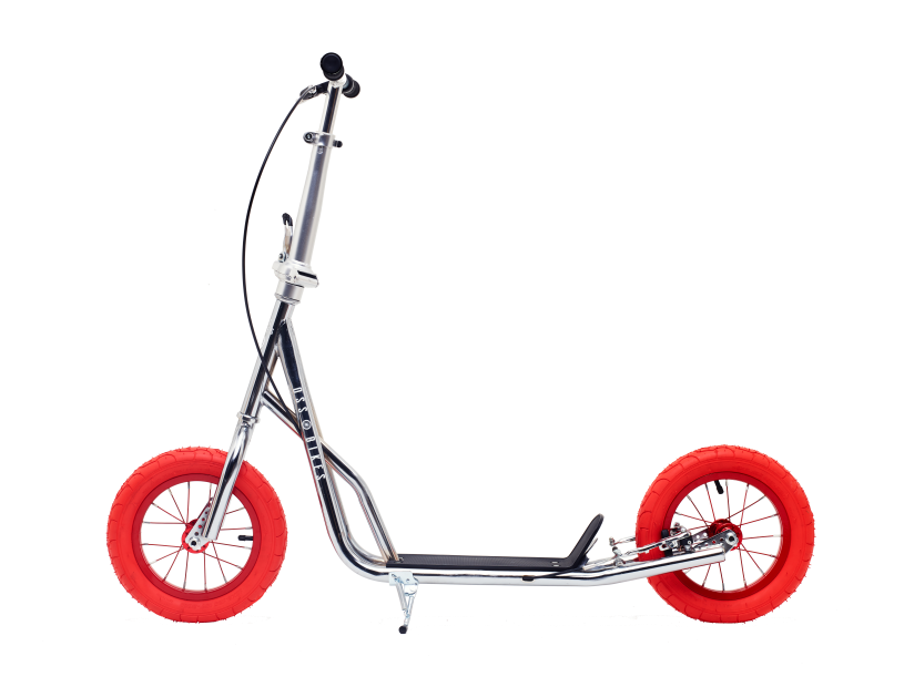 Chrome Kimura Kick Bike with 12inch Red wheels - side