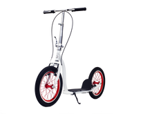 White Americana Kick Bike with 16inch Red wheels - front