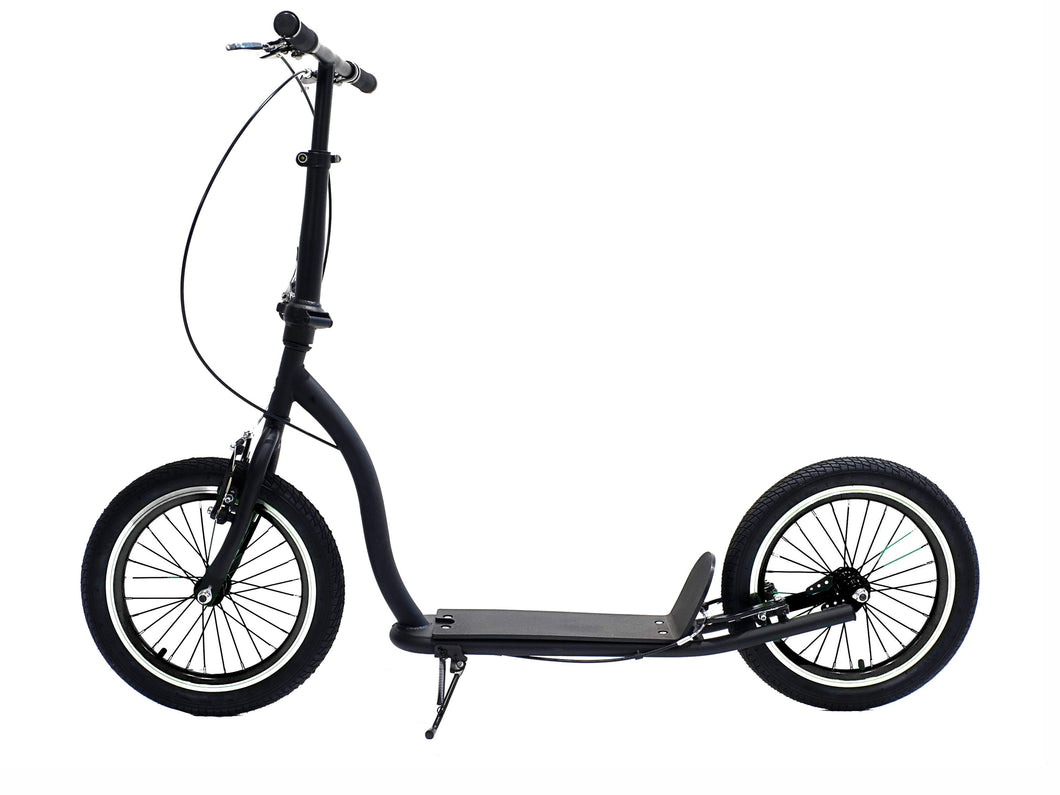Americana Matte Black - Matte Black Adult Scooter With 16 Inch Black Wheels