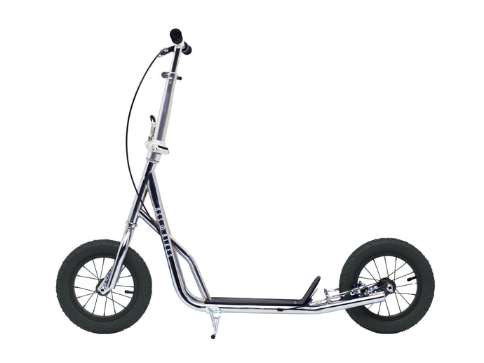 Kimura Chrome & Black - Chrome Scooter With 12 Inch Black Wheels