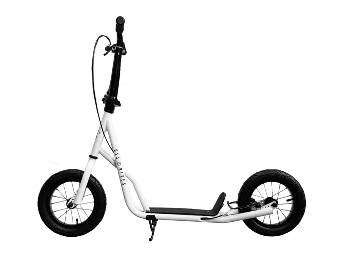 Black & White Kimura - White Scooter With 12 Inch Black Wheels