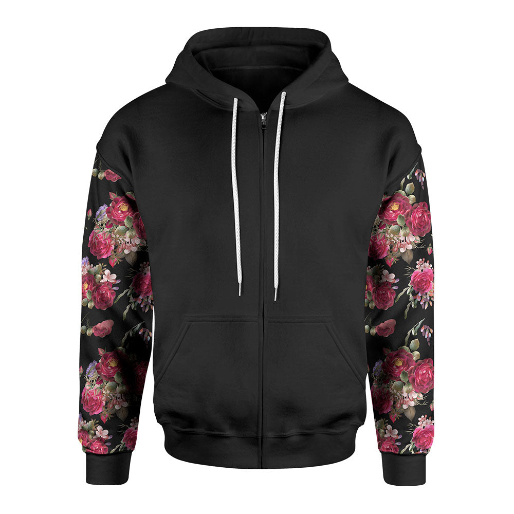Black Rose Zip-Up Hoodie