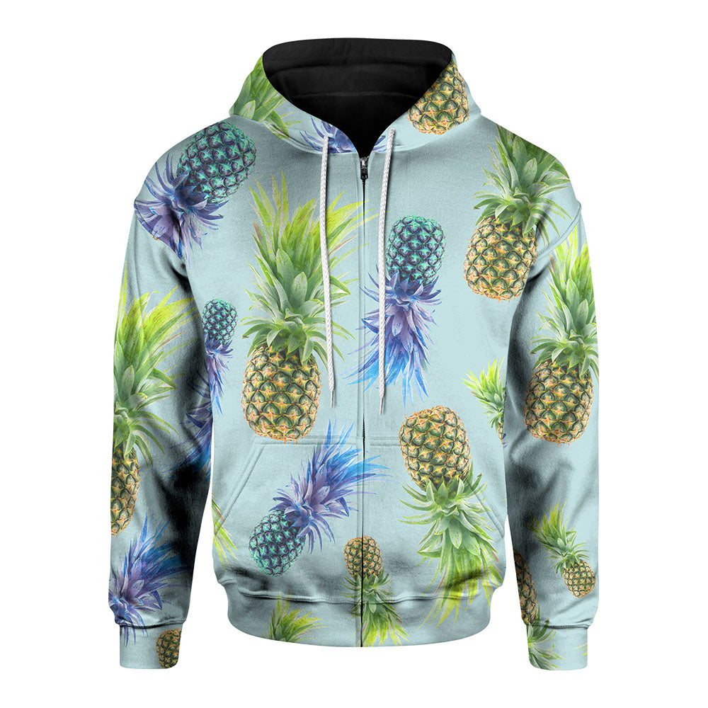 Neon Pineapple Zip-Up Hoodie