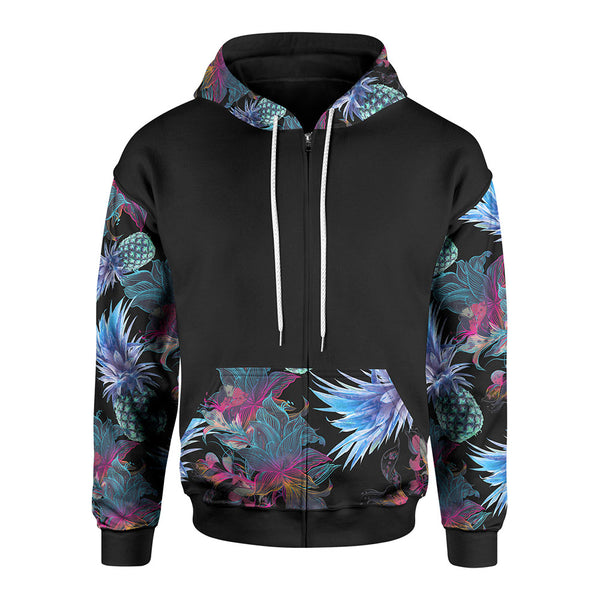 Neon Tropical Zip-Up Hoodie
