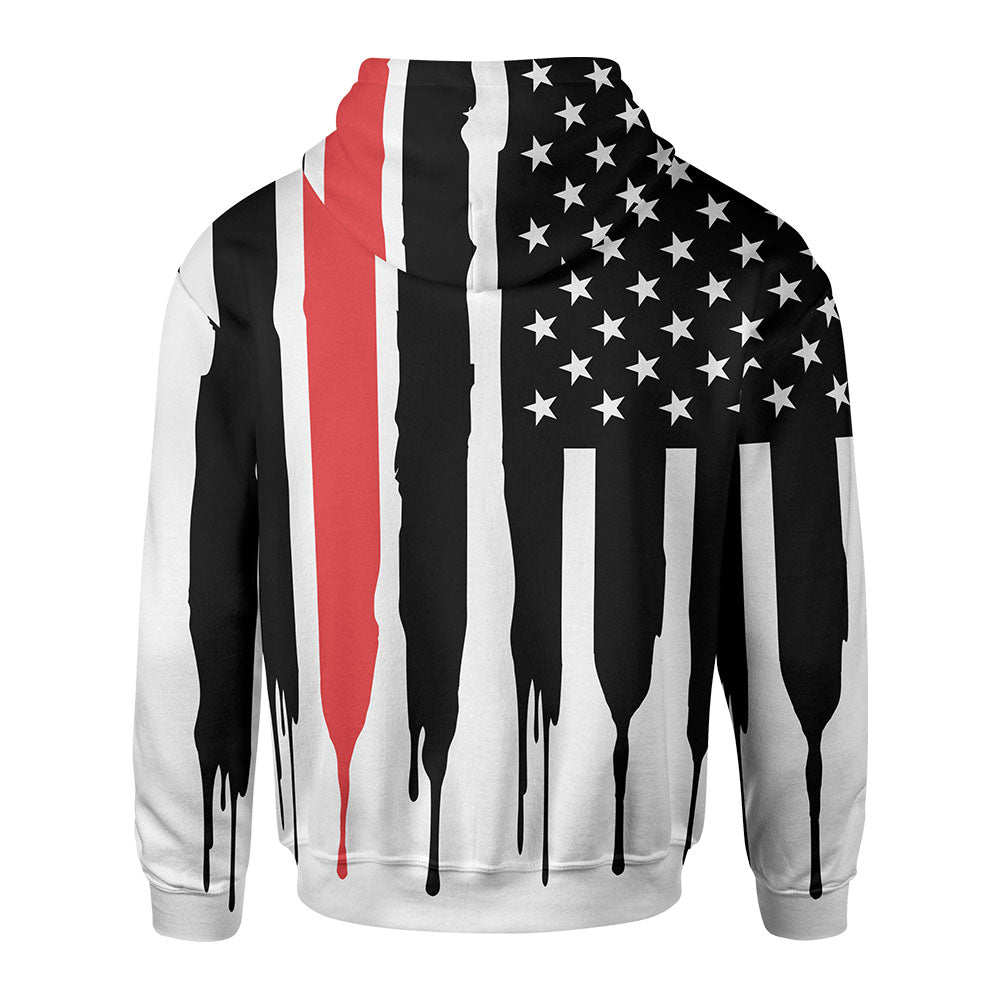 Red Stripe Zip-Up Hoodie