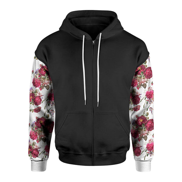 White Rose Zip-Up Hoodie