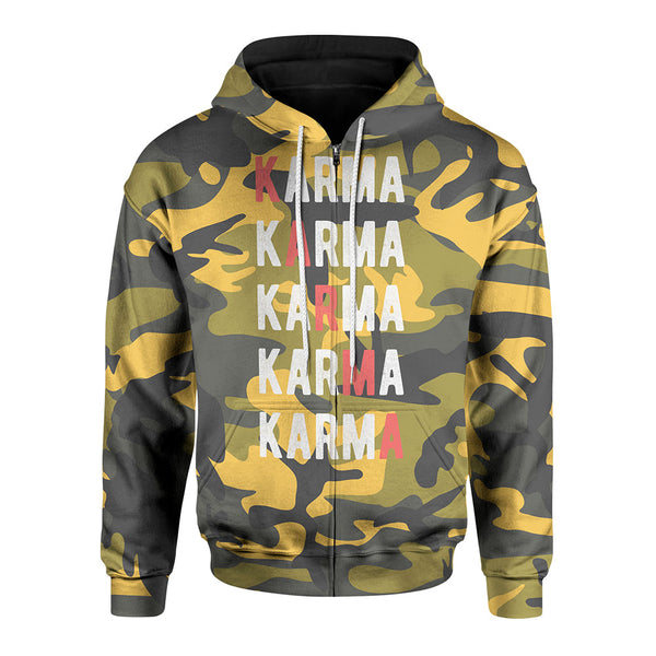 Yellow Karma Zip-Up Hoodie