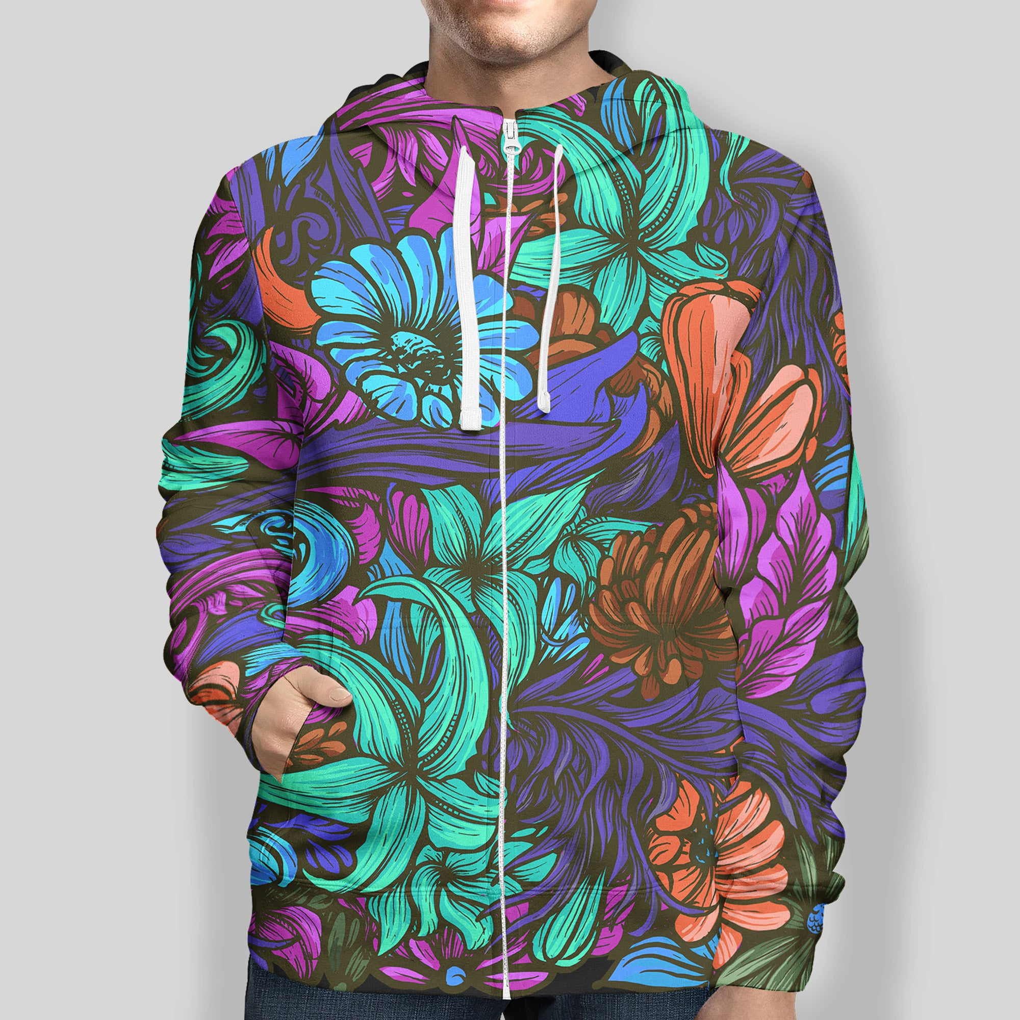 Midnight Floral Zip-Up Hoodie