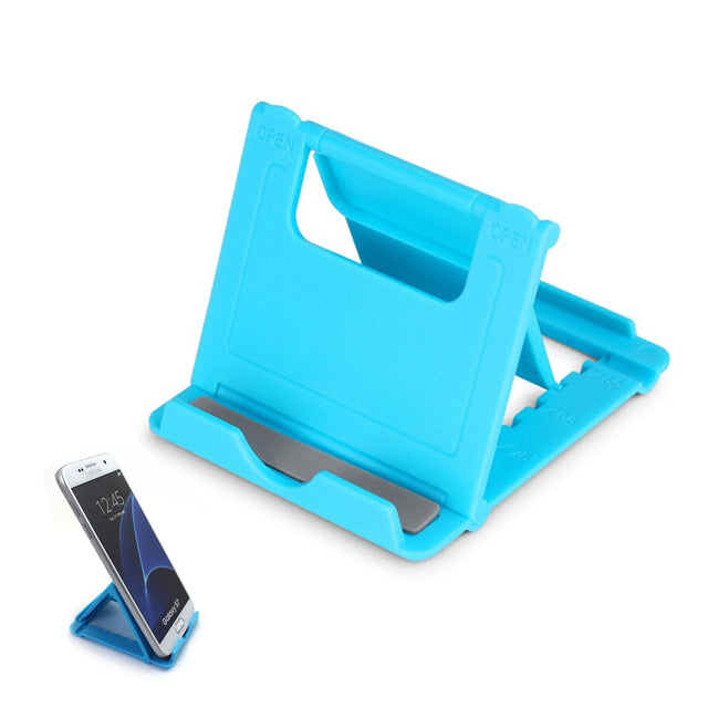 Phone Holder Stand Mini Adjustable and Foldable Blue