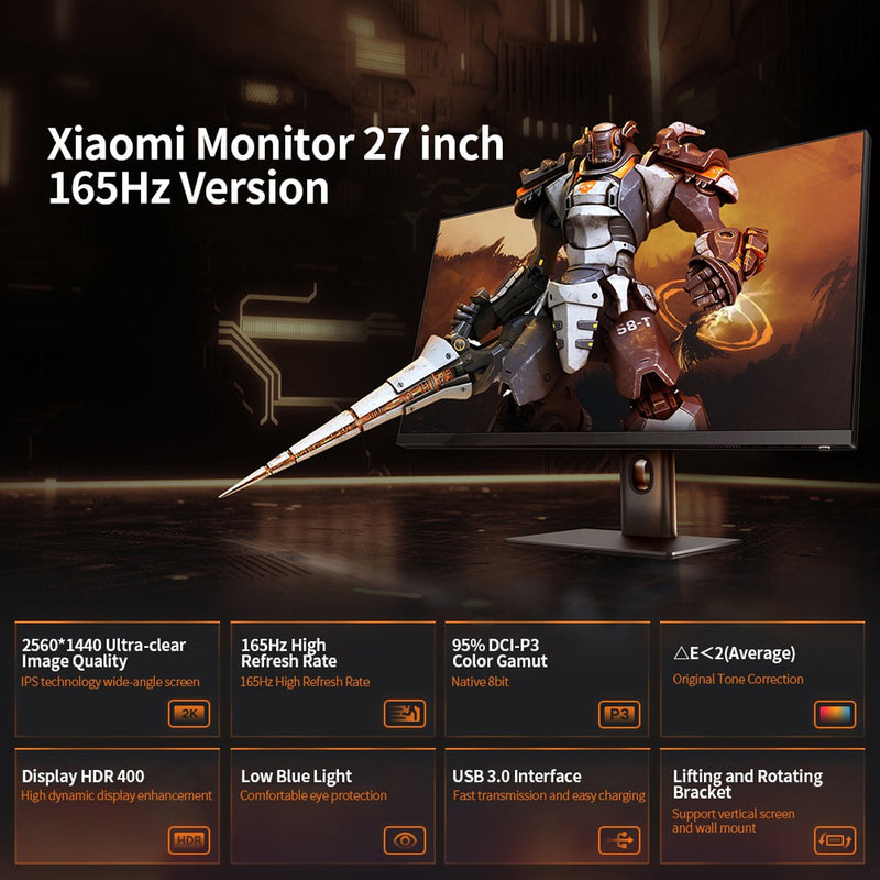 Xiaomi 27-Inch Gaming Monitor 165Hz Ultra High Refresh Rate QHD 2K  2560 x 1440 Resolution Monitor