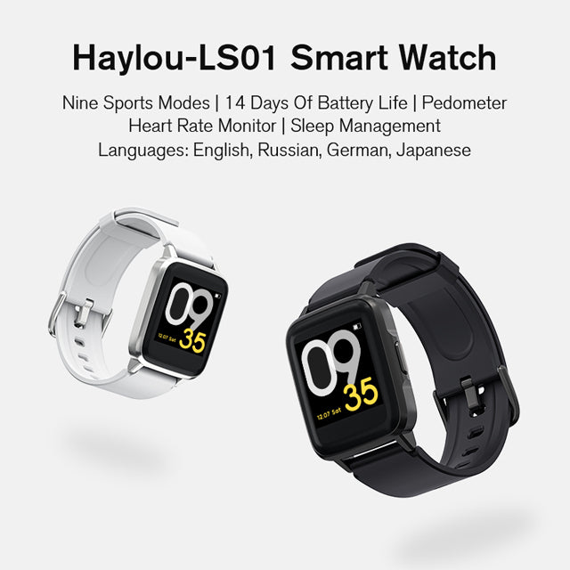 Haylou LS01 Smart Watch Global Version IP68 Water Resistant and Dustproof V4.2 with Heart Rate Sensor