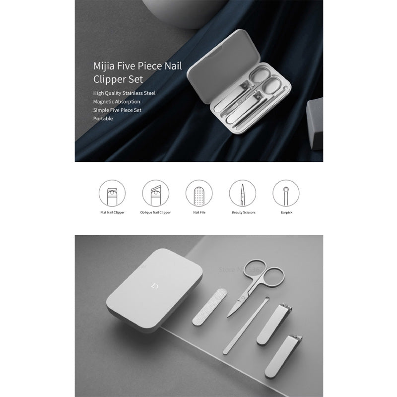 Xiaomi Mijia 5pc Nail Cutter Set Manicure and Pedicure Nail Grooming Tool Kit