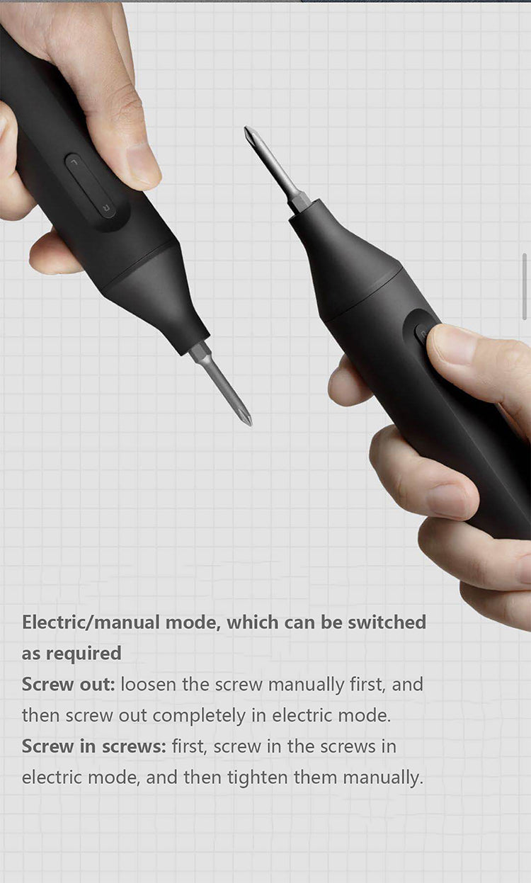 Xiaomi Mijia Electric Manual Screwdriver Kit 1500mAh Rechargeable Battery with 6 S2 Alloy Screw Bits