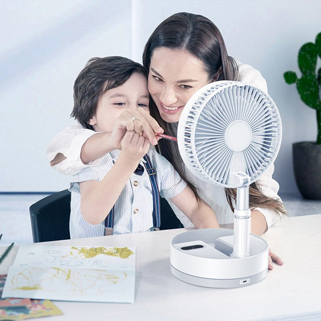 P10 Portable and Wireless Fan with Remote Control and Warm Light Lamp