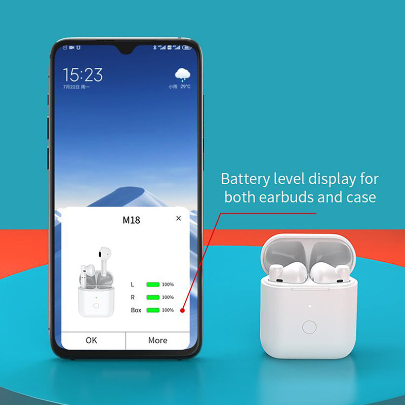 QCY M18 TWS Earbuds True Wireless Earphones Semi In Ear Bluetooth 5.1 IPX4 HiFi Sound