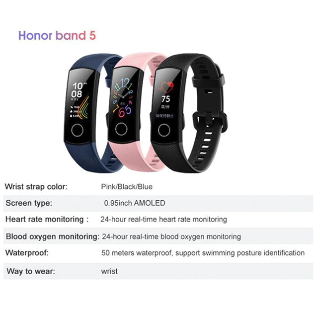Honor Band 5 Huawei Fitness Tracker Specs