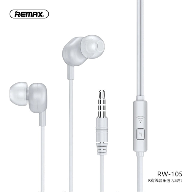 Remax Earphone RW-105 3.5mm with HD Microphone White