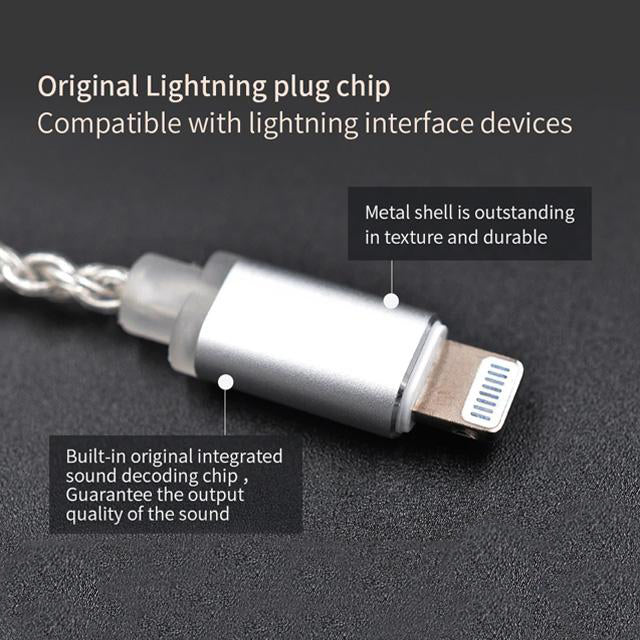 Lightning Cable Silver Plated Upgraded Version For KZ Earphone Details