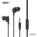 Remax Earphone RW-105 3.5mm with HD Microphone Black