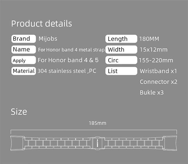 Mijobs Metal Strap for Honor Band 5 and 4 NFC Details