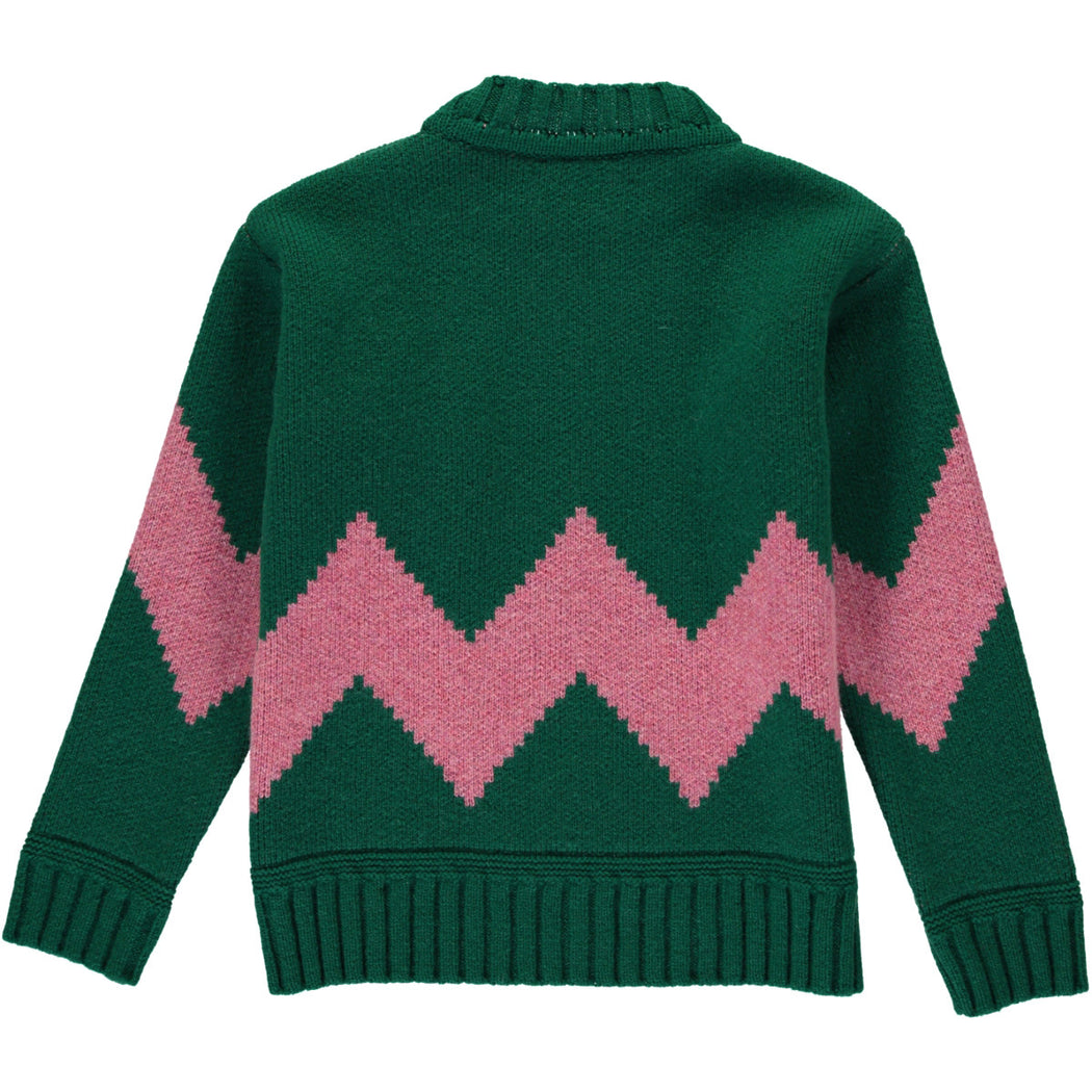 Wonderers Green and Pink Zig Zag Jacquard Jumper in Lambswool back