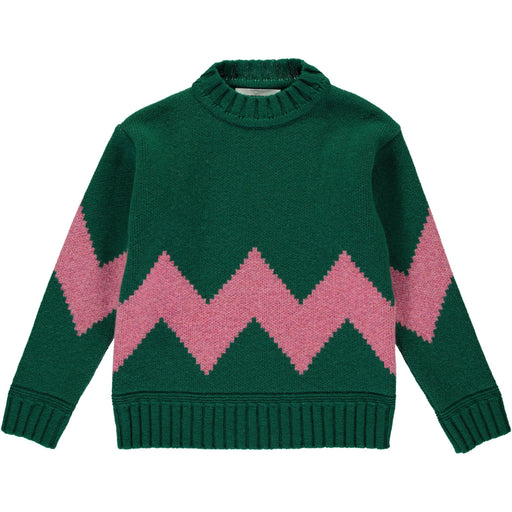 Wonderers Green and Pink Zig Zag Jacquard Jumper in Lambswool front
