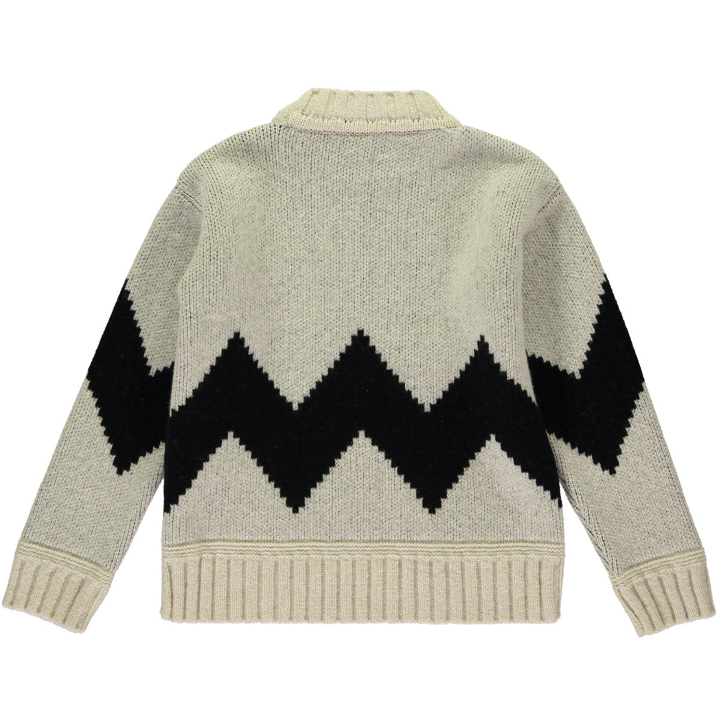 Wonderers White and Black Zig Zag Jacquard Jumper in Lambswool back