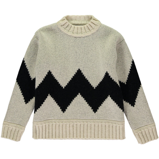 Wonderers White and Black Zig Zag Jacquard Jumper in Lambswool front