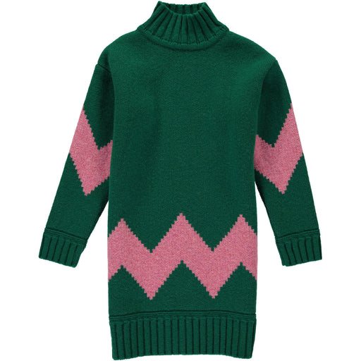 Wonderers green and pink Zig Zag Jacquard Jumper Dress in Lambswool front