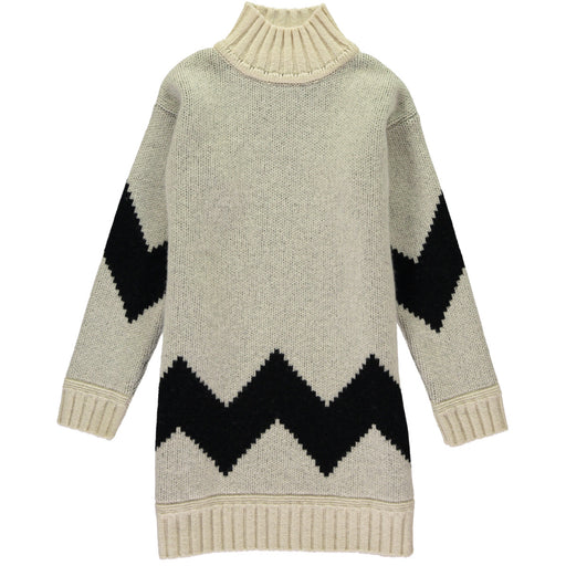 Wonderers white and black Zig Zag Jacquard Jumper Dress in Lambswool front