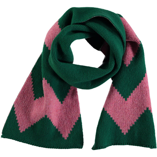 Wonderers green and pink Zig Zag Jacquard scarf in Lambswool folded