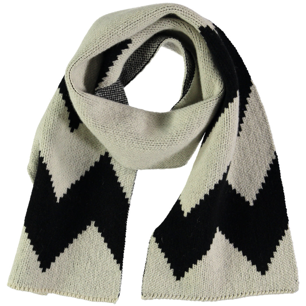 Wonderers white and black Zig Zag Jacquard scarf in Lambswool folded