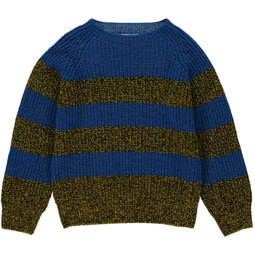Wonderers Blue Stripe Jumper in Geelong Lambswool front