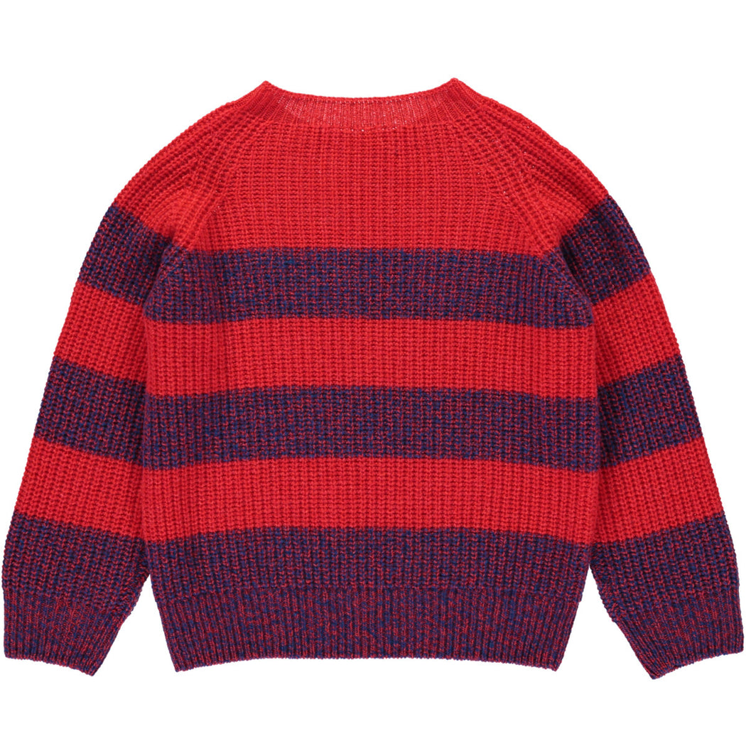 Wonderers Red stripe Jumper in Geelong Lambswool back