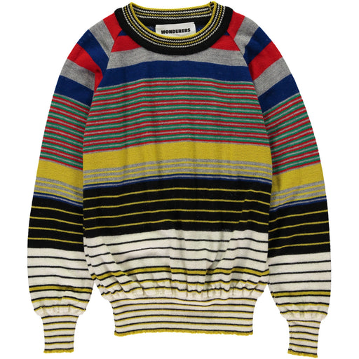 Wonderers Fine Multi Colour Stripe Jumper in Merino front
