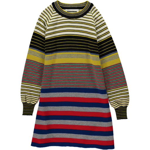 Wonderers Fine Multi Colour Stripe Jumper Dress in Merino front