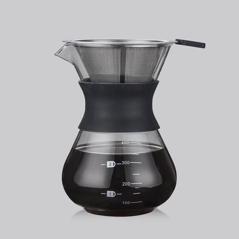 Glass Coffee Kettle with Stainless Steel Filter Drip Brewing Chemex Hot Brewer Coffee Pot Dripper Barista Pour Over Coffee Maker