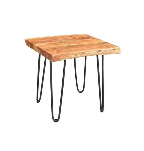 Driftwood Acacia Side Table with Hairpin Legs