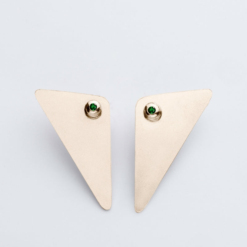 Amy Gold Earrings -  Green Zircon
