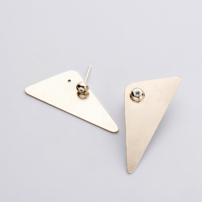 Amy Gold Earrings -  White Zircon